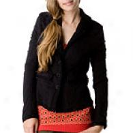Free People Village Bazaar Negro Fleece Blazer