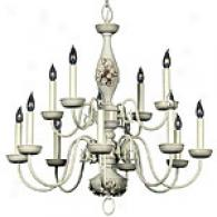 French White 12 Light Chandelier
