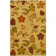 Funky Foliage Floral Beige Hand-tufted Wool Rug