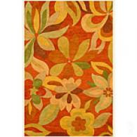 Funky Foliage Floral Rust Hand Tufted Wool Rug