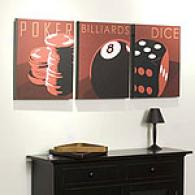 Game Room Set Of 3 Outdoor Canvas Prints