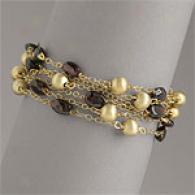 Garnet And Gold Bead Multi Layer Bracelet