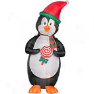 Gemmy Air Blown Penguin With Lollipop
