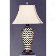 Geometric Table Lamp With Silk Shade