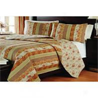 Georgetown Floral & Striped Cotton-wool Quilt Set
