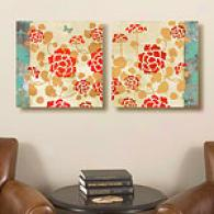 Geraniums Set Of 2 16in X 16in Canvas Prints