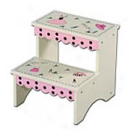Girly Girl Ivory & Pink Polka Dot Stepstool
