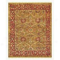 Gold And Red Hand Knotte Wool Rug