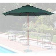 Green 11ft Wood Patio Umbrella