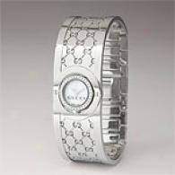 Gucci Twirl Diamond & Steel Small White Watch
