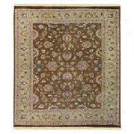 Gulej Brown & Light Green Hand Knotted Wool Rug