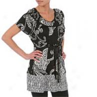 Hale Bob Black Whimsical Silk Jersey Top