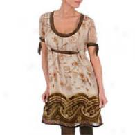 Hale Bob O1ive/grey Border Velvet Burnout Dress