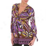 Hale Bob Purple Long Sleeve Silk Jersey Tunic