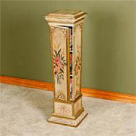 Handpainted Floral Plant Stand & Shelf