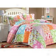 Hawaiian Tropics Floral Cotton Quilt Set