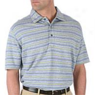 Hickey Freeman Blue Melange Multi Wale Polo