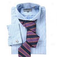 Hickey Freeman Blue Small Stripe Dress Shirt
