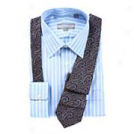 Hickey Freeman Blue Wide Stripe Dress Shirt