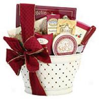 Holiday Cheer Ivory Tin Gift Basket