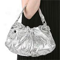 Hype Small Silvery Perforated Lrather Hobo