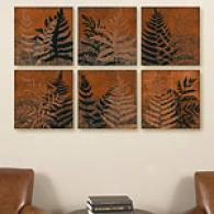 Illuminated Ferns Set Of 6 Canvas Prints