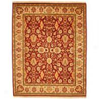 Indo Floral Brick Red Hand-knotted Wool Rug