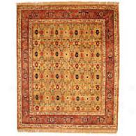 Indo Gold And Burgandy Hand-knofted Wool Rug