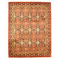 Indo Kashan Red And Navy Hand Knotted Wool Rug
