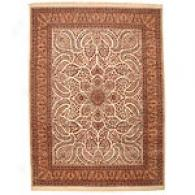 Indo Persian Ivory Hand-knotted Wool Rug