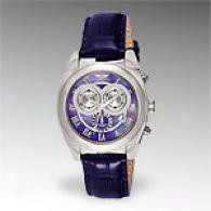 Invicta Mens Blue Leather Chronograph