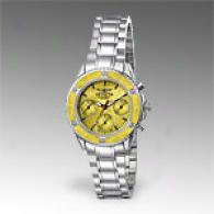 Invicta Womens Stainless Steel Yellow Dial Watch