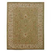 Iskon Apple Green Darrk Ivory Hand Tuftedd Wool Rug