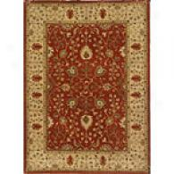 Iskon Brick Red & Soft Gold Hand Tufted Wool Rug