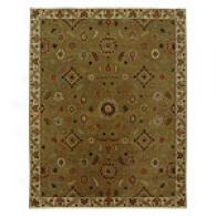Iskon Light Green & Gold Hand Tufted Wool Rug