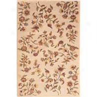 Ivory Floral Vine Hand Tufted Wool Rug
