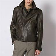 John Varvatos Dark Olive Leather Motorcycle Jacket