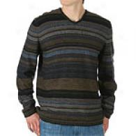 Joseph Abboud Striped V-neck Wool Sweater