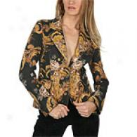 Just Cavalli Black Jacket With Gold Leaf Print