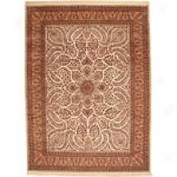 Kashan Ivory 100% Wool Hand-knotted 8 X 10 Rug
