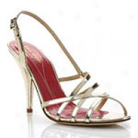 Kate Spsde Hazel Gold Leather Strappy Sandal