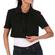 Kay Unger Black Ponte Knit Crop Jacket