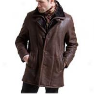 Kenneth Cole Brown Three Button Shearling Jacket