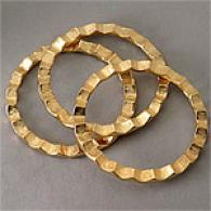 Kenneth Jay Lane 3 Gold-tone Crinkle Bangles