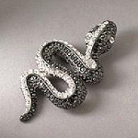 Kenneth Jay Alley Black Crystal Pave Snake Pin