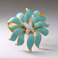 Kenneth Jay Lane Fleur Moderne Blue Brooch