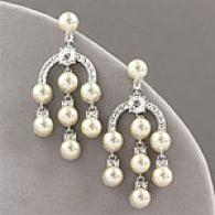 Kenneth Jay Lane Simulated Pearl & Crystal Earring