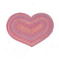Kids Multi Pink Chenille Heart Rug