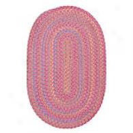 Kids Multi Stripes Pink Chenille Braided Rug