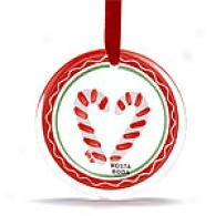 Kosta Boda Candy Canne Set Of Two Ornaments